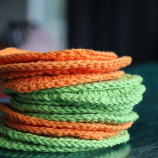 Crochet face wipes in a stack