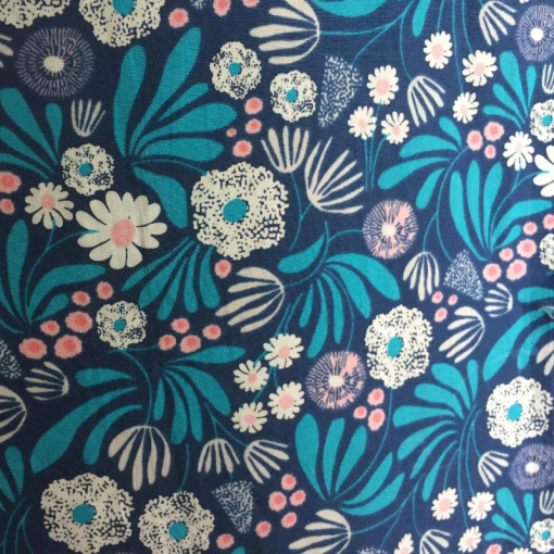 Shades of blue floral fabric with aqua blue leaves