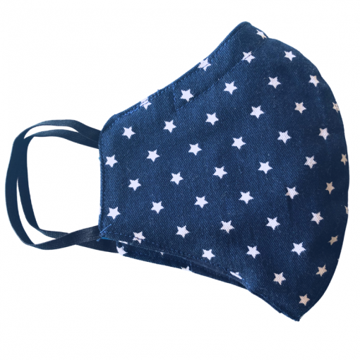 Navy blue mask with white stars and ear elastic on white background