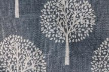 Cutlery bag inner fabric, blue with white trees