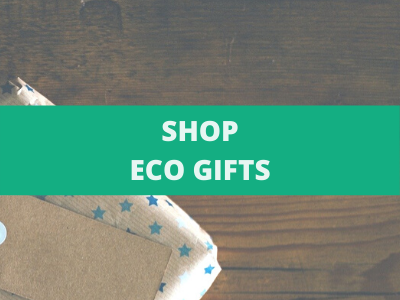 Shop eco gifts over an image of an eco wrapped present
